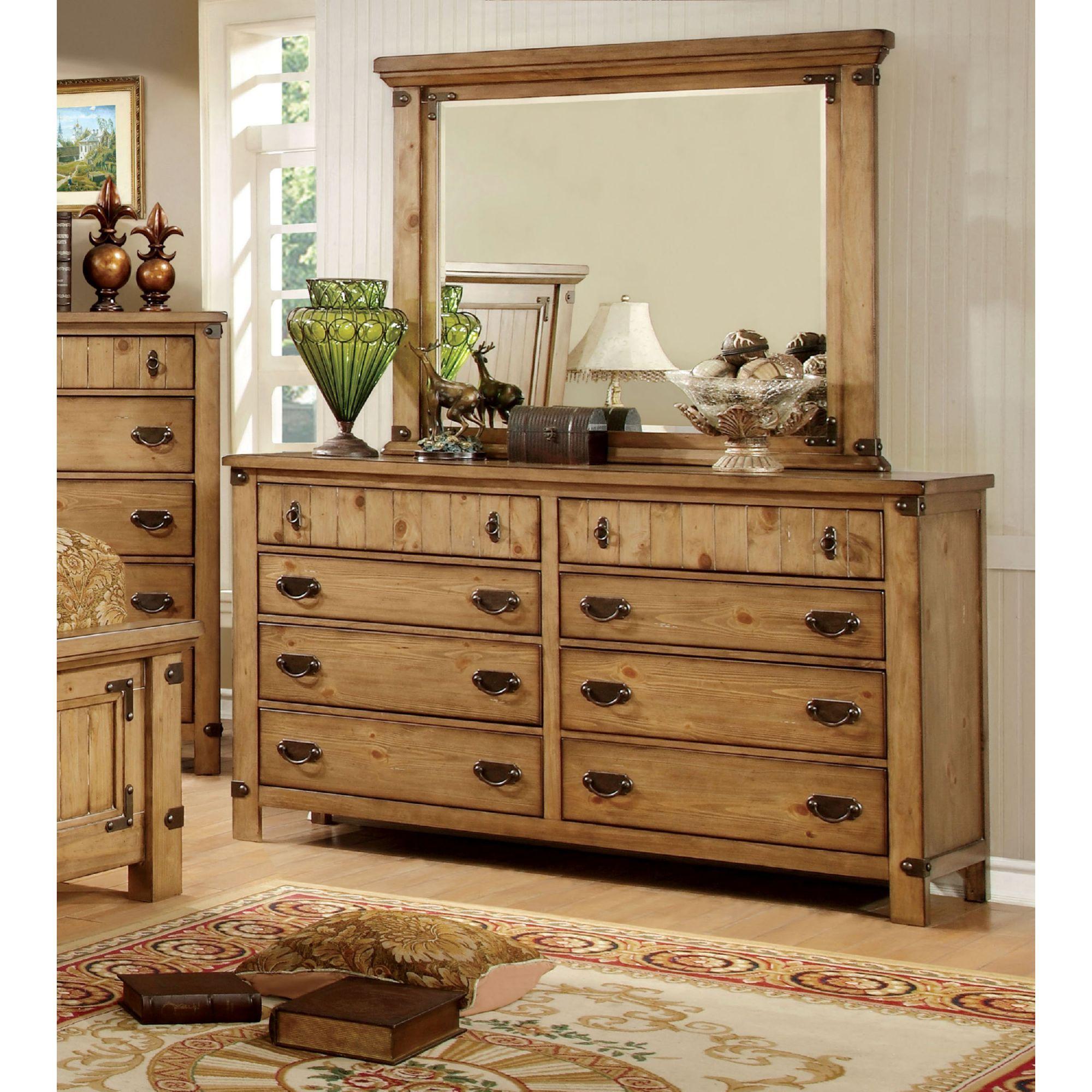 Rockwell rustic wood accent dresser u mirror set in weathered elm