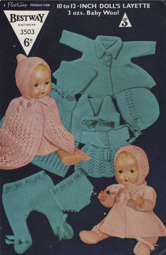Doll Clothes Knitting Pattern Pdf For 10 12 Inch Baby Doll Etsy Baby Doll Clothes Vintage Knitting Patterns Knitting Patterns