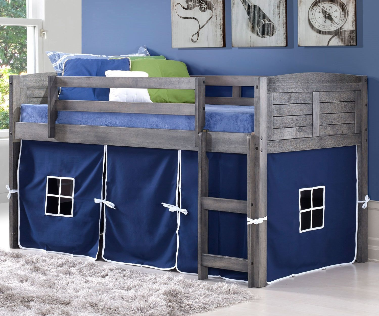 Twin bed loft bed  Jordan Gray Twin Loft Bed with Blue Tent  Twin beds Play spaces