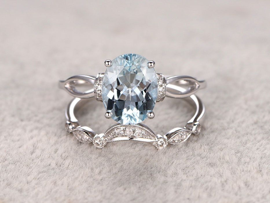 Aquamarine Bridal Ring Set In Bbbgem See Our March Birthstone
