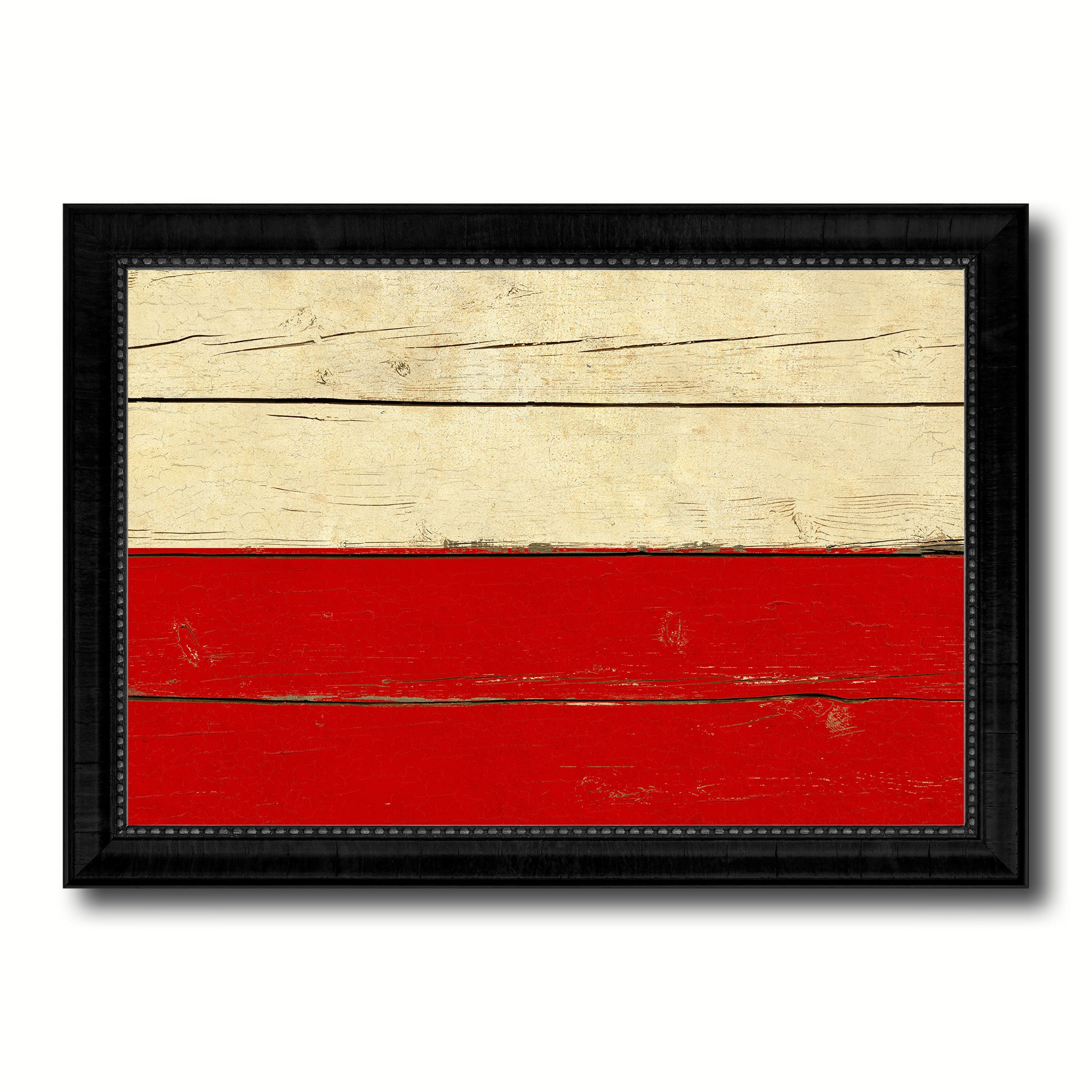 Poland & Polish Country Flag Vintage Canvas Print with Black Picture ...