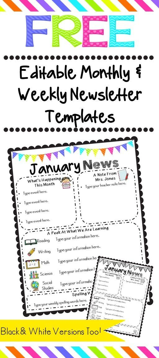 Editable Classroom Newsletter Templates Color Black And