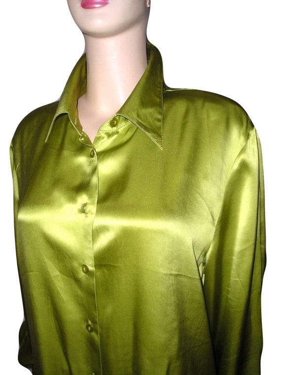 Vintage Silk Lime Button Up