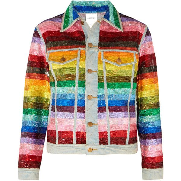 b381c242 Ashish Striped sequined denim jacket found on Polyvore featuring outerwear,  jackets, ashish, jean jacket, colorful sequin jacket, multi colored jacket,  ...