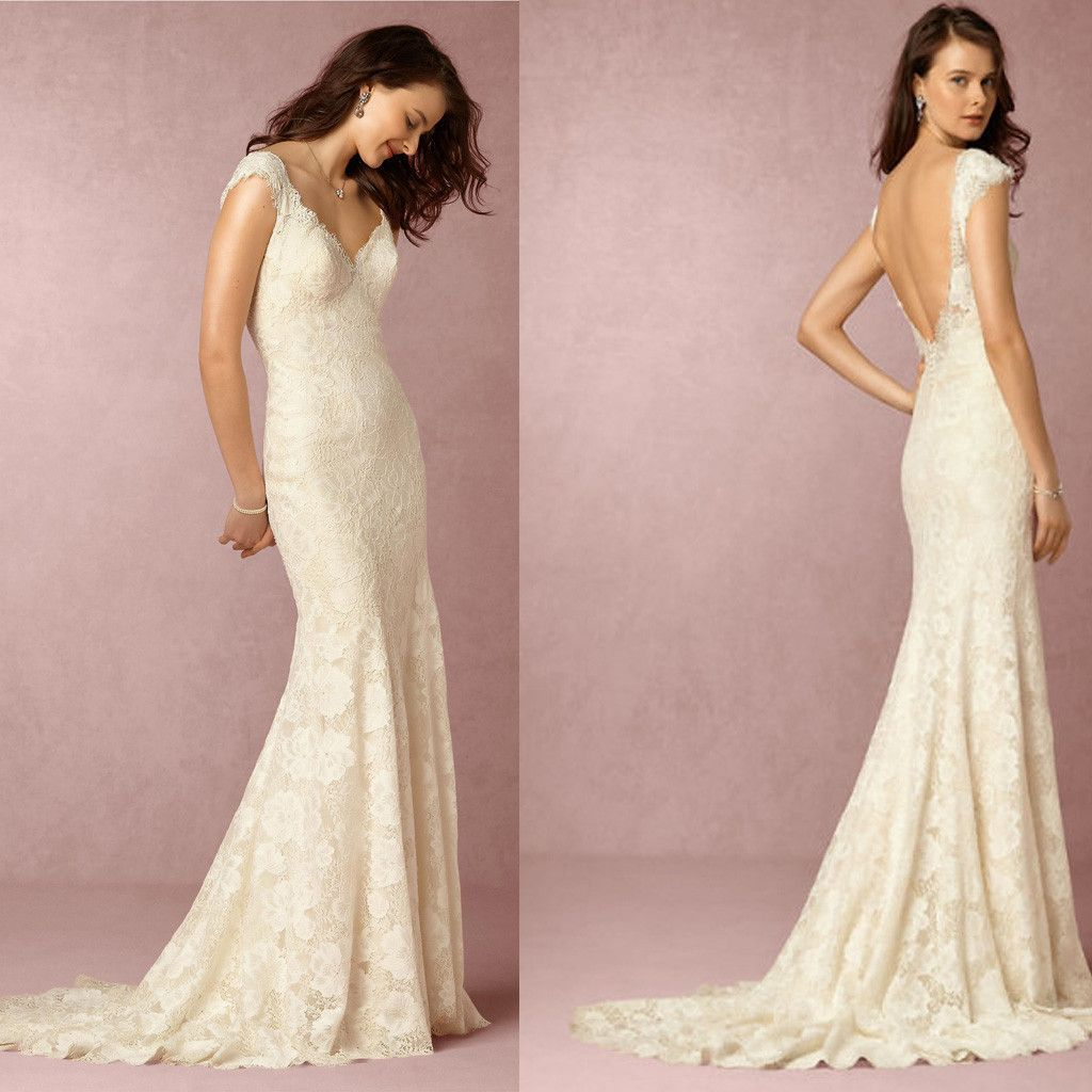 Gorgeous V-back Sexy Mermaid Lace Wedding Dresses, V-neck Bridal ...