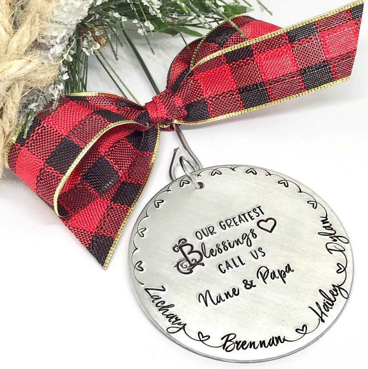 Grandparents ornament personalized gifts for family name
