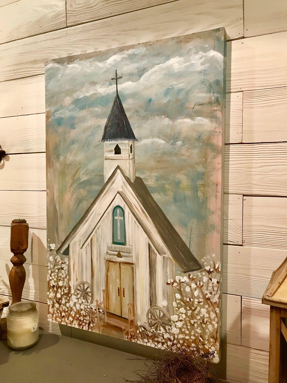 Cottonfield church painting farmhouse decor church art