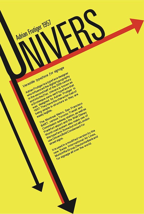 Univers Font Poster On Behance Poster Fonts Typography Poster