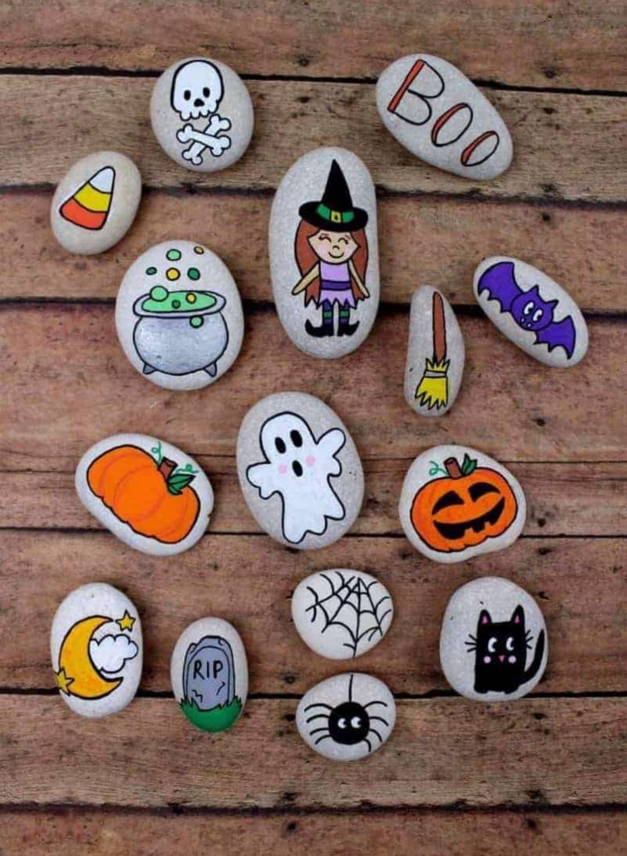 Halloween Rock Painting Idea For Kids