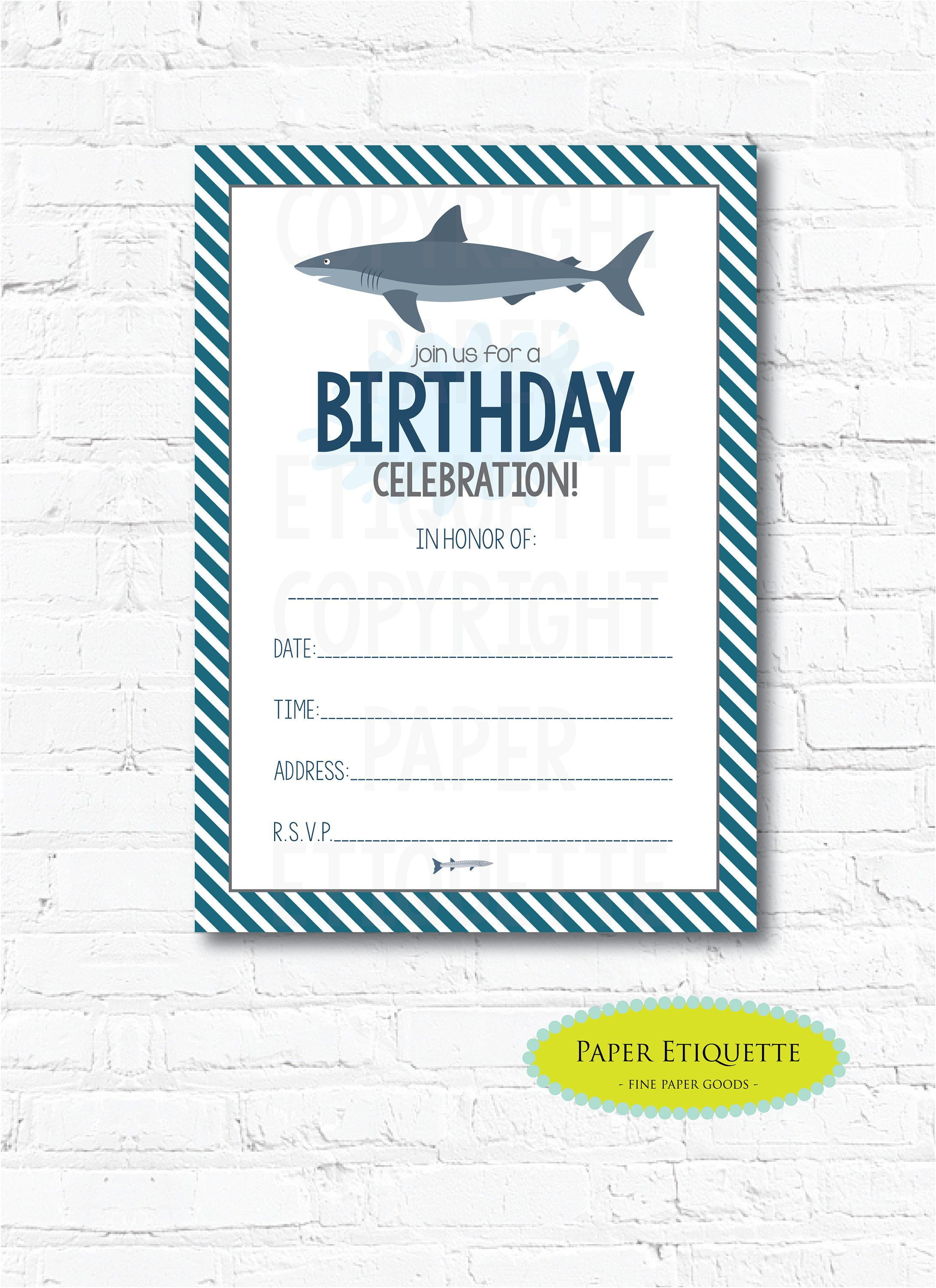 Shark Party Birthday Invitation