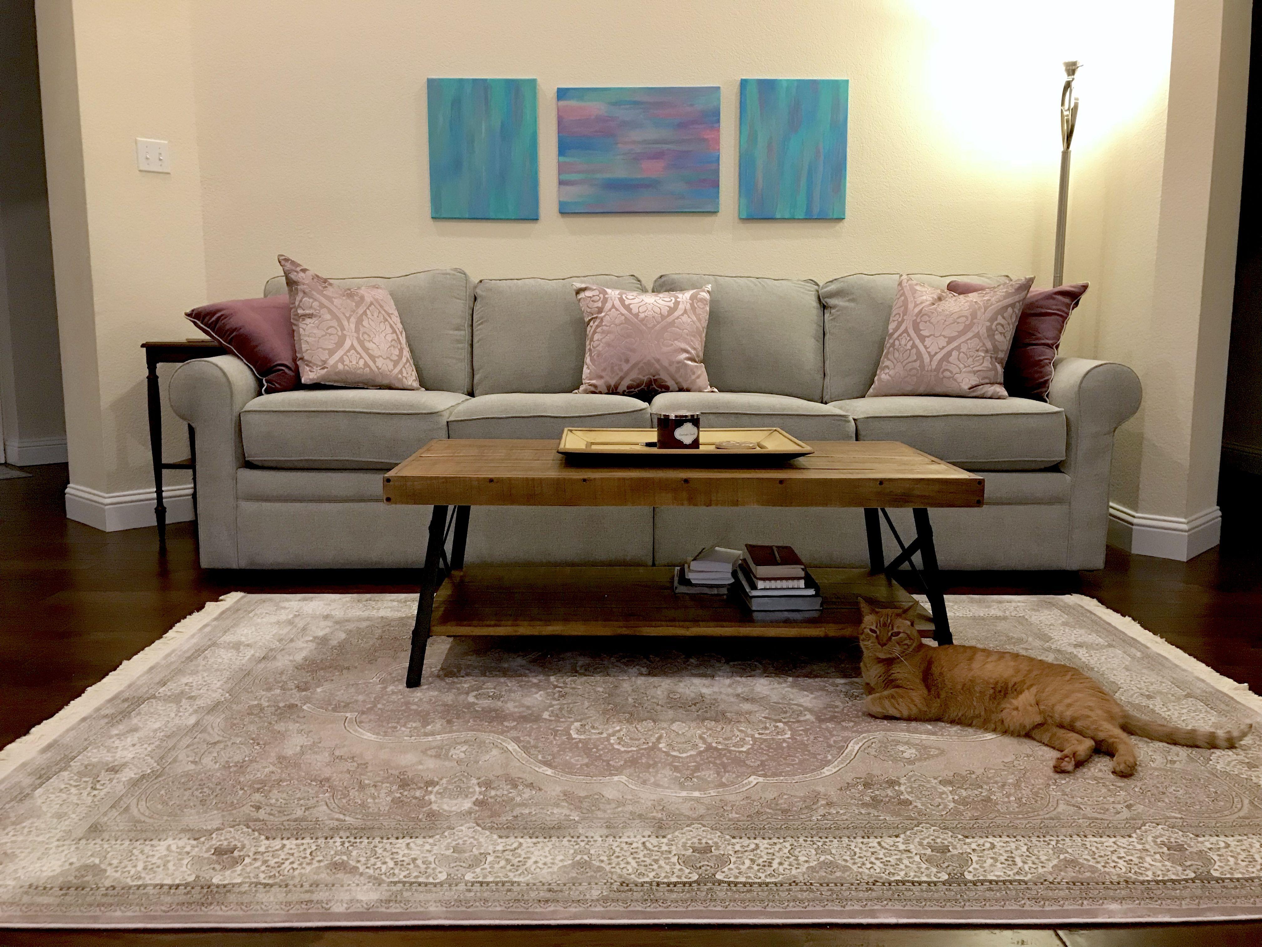Living room progress. Gray sofa (Collins Lazboy), rustic ...
