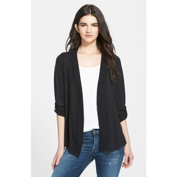 Splendid Open Front Jersey Cardigan ( 78) ❤ liked on Polyvore featuring  tops d130d2c03