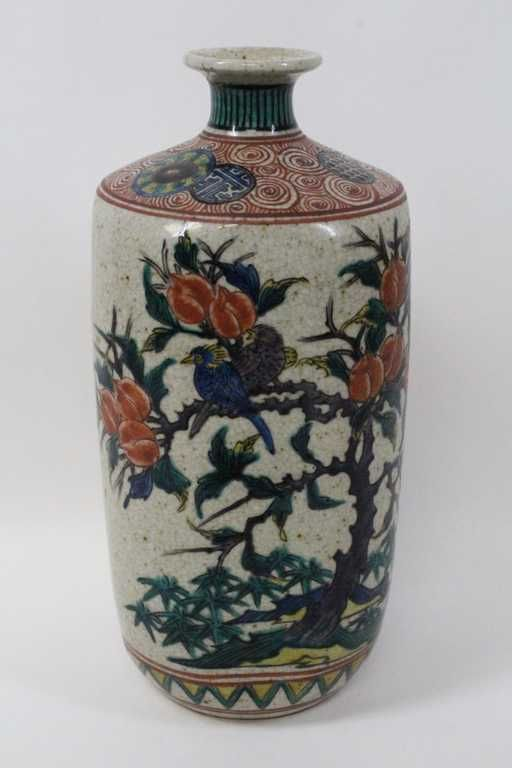 17th18th C Japanese Ko Kutani Vase W Fuku Mark On