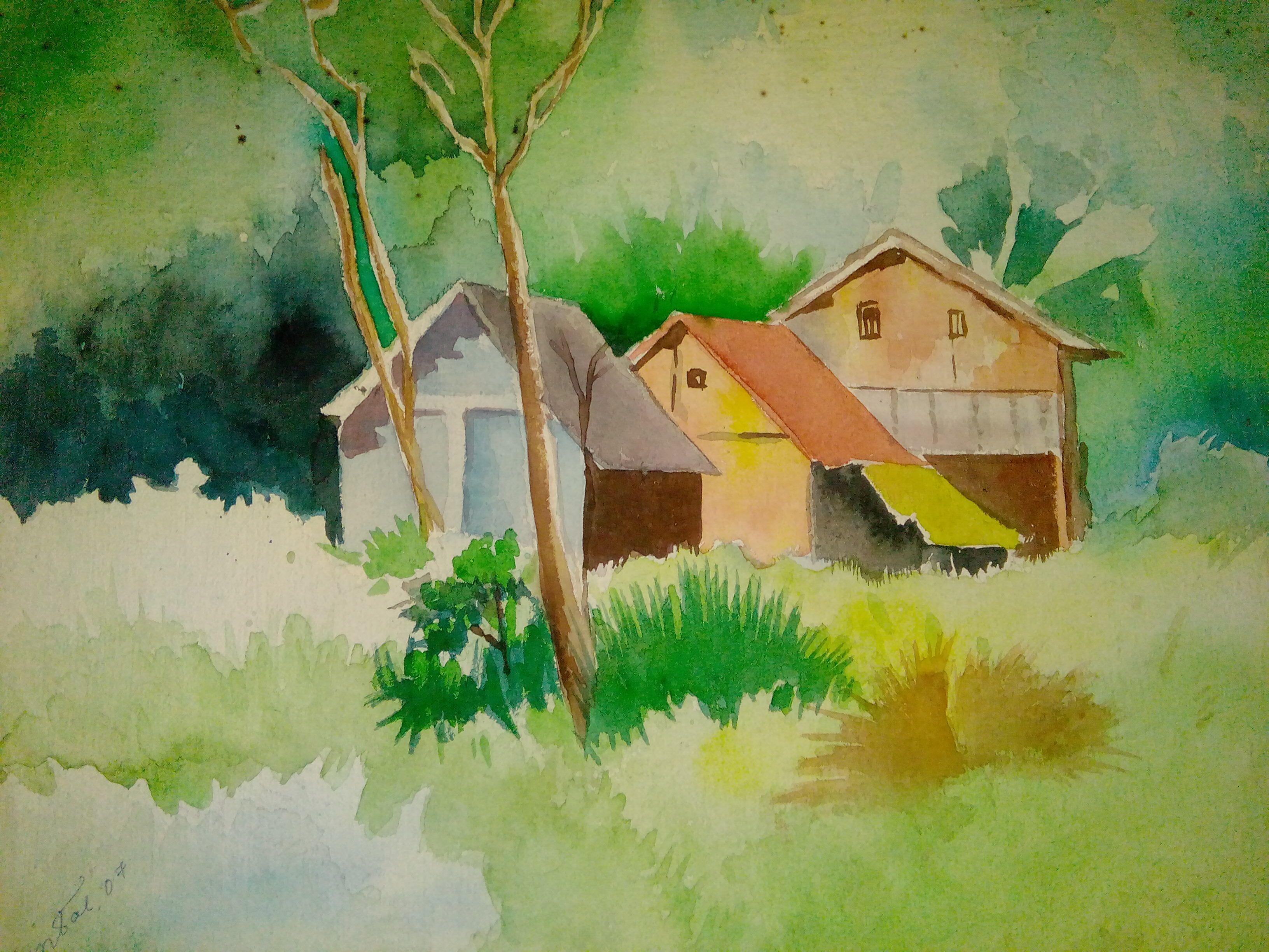 Watercolor Forest Landscape Watercolor Landscape Watercolor