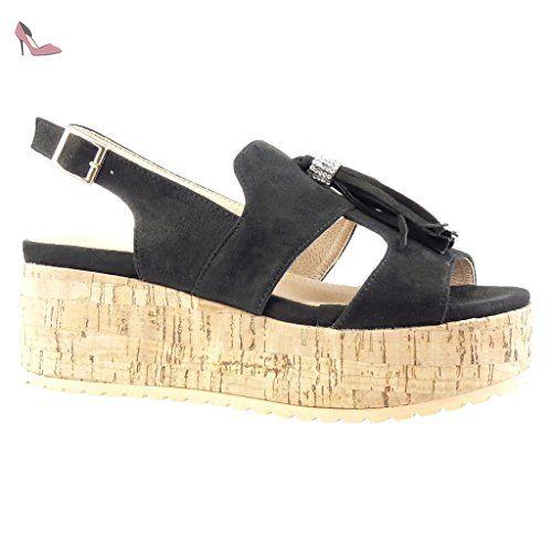 1a330893d615a Angkorly - Chaussure Mode Sandale Mule plateforme femme frange pom-pom strass  diamant Talon compensé