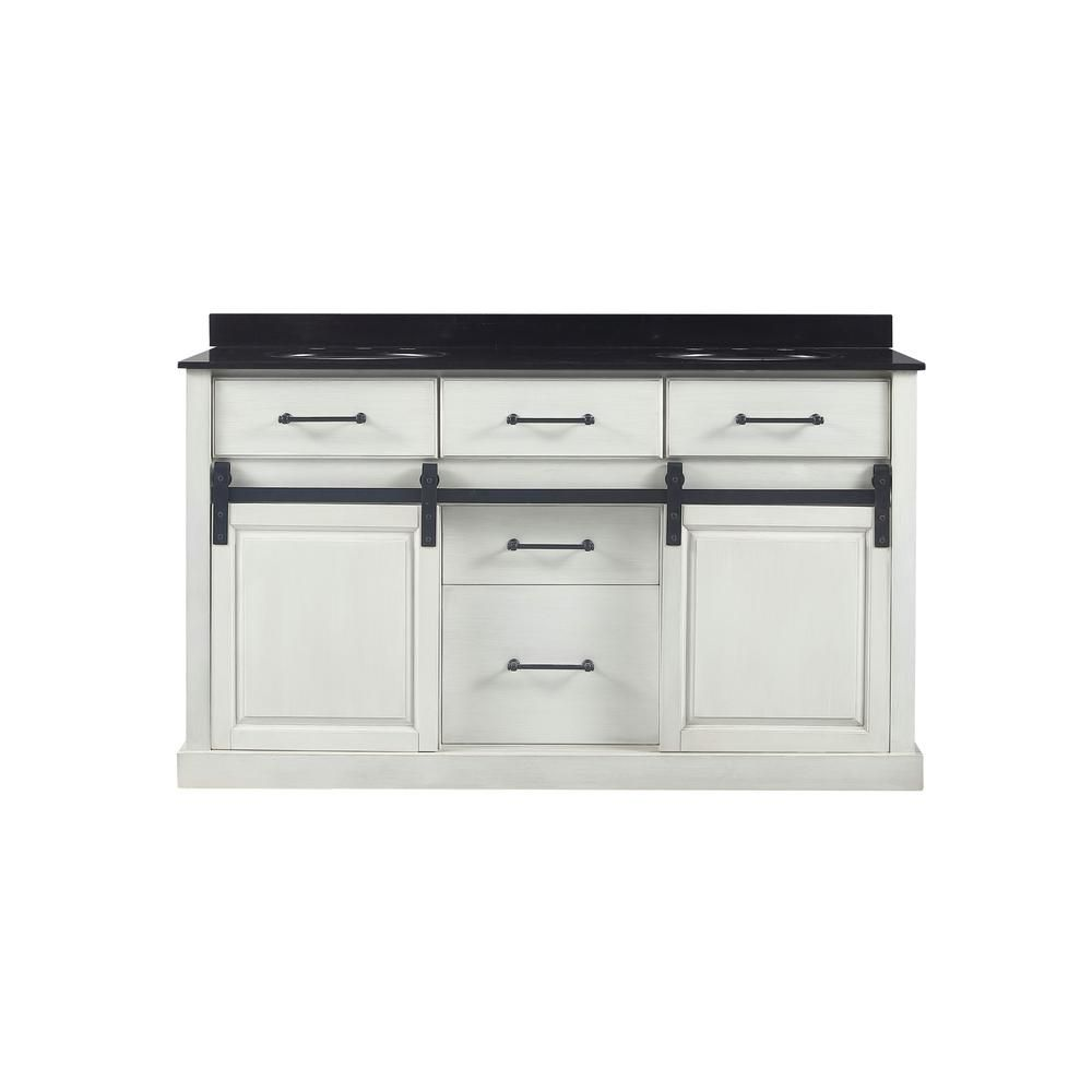 Home Decorators Collection Merceza 60 In W X 22 In D Barn Door Vanity In Antique White With Granite Vanity Top In Black With White Sink Merceza 60 The Home [ 1000 x 1000 Pixel ]