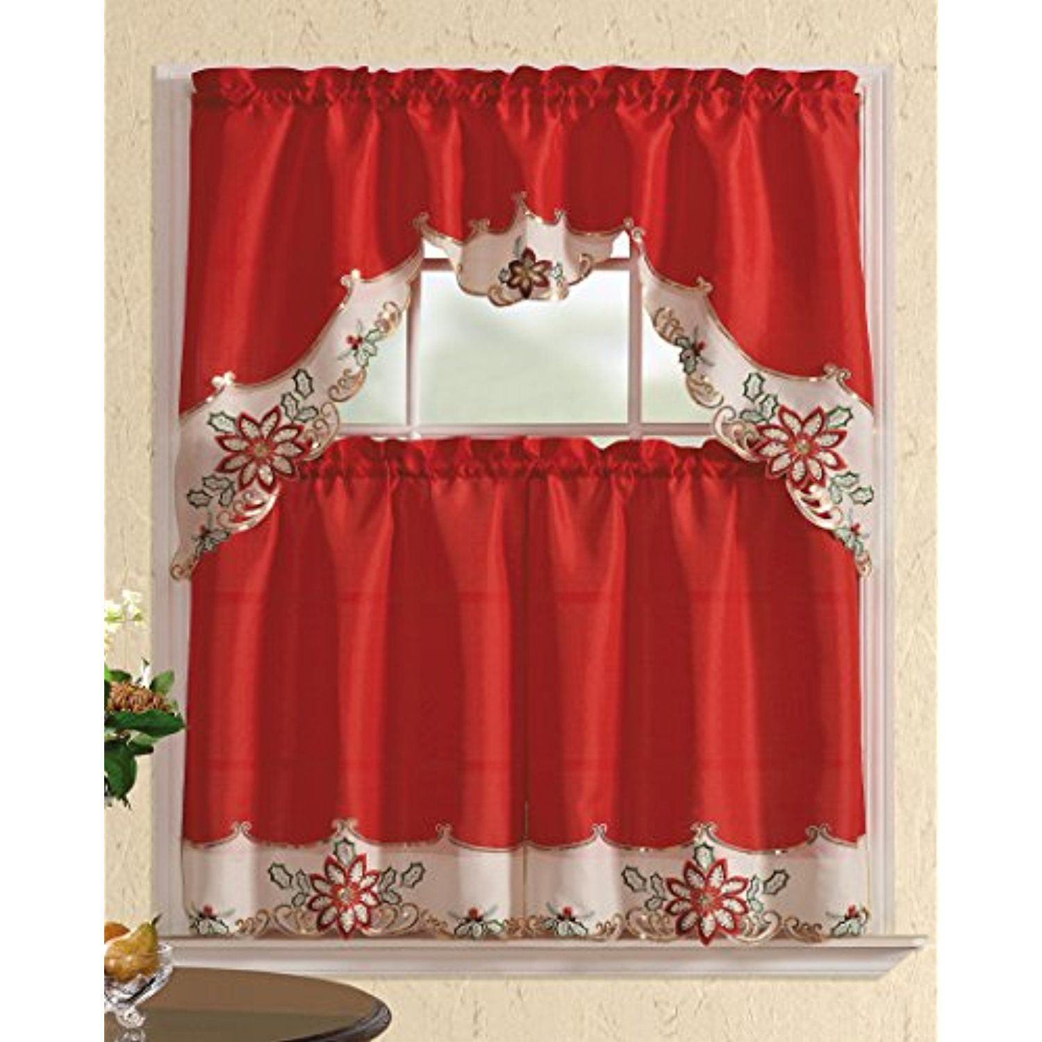 all american collection new 3pc christmas holiday design embroidered
