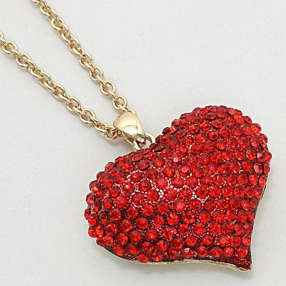 Valentine's Day Gift Pave Crystal Heart by ALLABOUTMYJEWELRY, $19.95