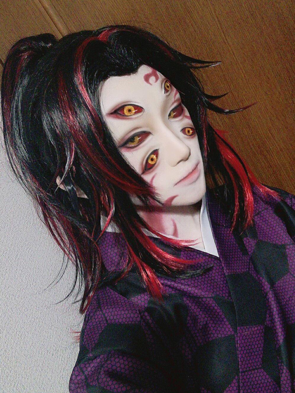 Photo of 23.73US $ 6% OFF | Anime Kokushibou / Tsugikuni Michikatsu long Wig Black red Cosplay Wig + Wig Cap Costume Demon Slayer: Kimetsu no Yaiba Wigs | Anime Costumes | –AliExpress