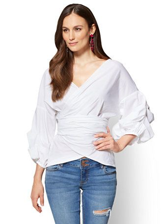 Amolapha Women Pleated Short Style Shirts Slash Neck Full Sleeve Woman Beach Holiday Blouses Tops Blouses & Shirts