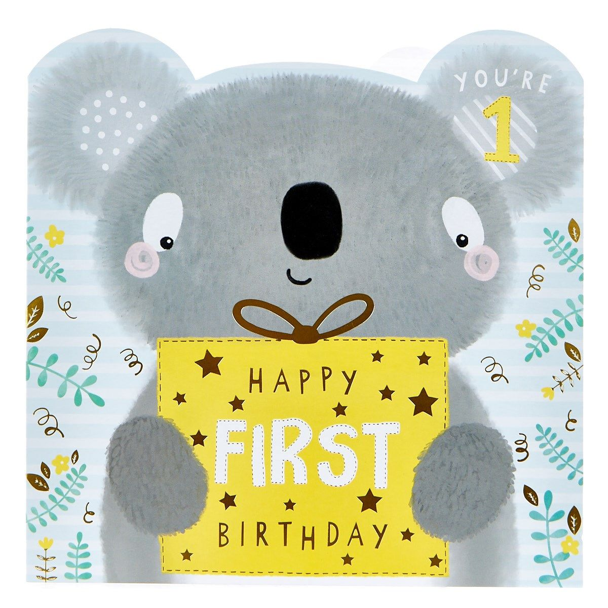 Platinum Collection 1st Birthday Card Cute Koala Card Factory 1st Birthday Cards First Birthday Cards Birthday Wishes For Kids