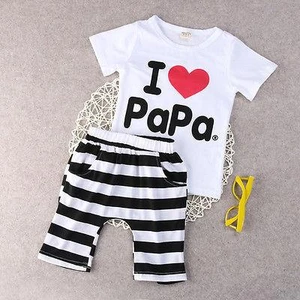 Ich liebe PaPa Mama Neugeborene Baby Kleidung Casual Boy Girls Striped 2pcsdresskily