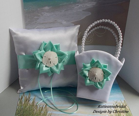 Beach Wedding Ring Bearer Pillow Flower Girl by Katieannsbridal, $45.00 @katiedecorte   could use the flower girl basket for your dollar dance at reception