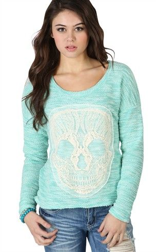 Deb Shops Long sleeve #mint Knit Sweater high low with crochet #skull patch $16.42