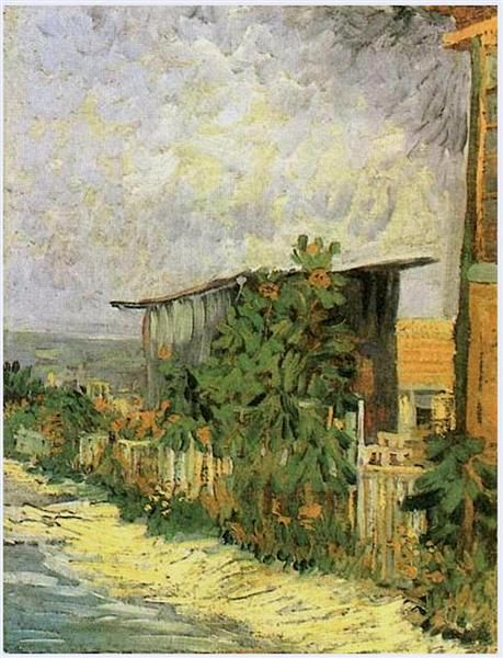 Montmartre Path with Sunflowers, 1887 by Vincent van Gogh. Post-Impressionism. cityscape. Legion of Honor, San Francisco , CA, US