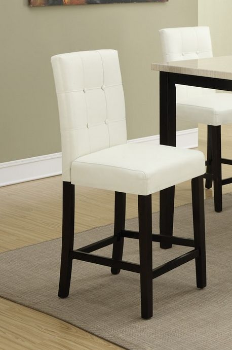Set of 2 espresso finish wood and cream faux leather counter height bar chairs