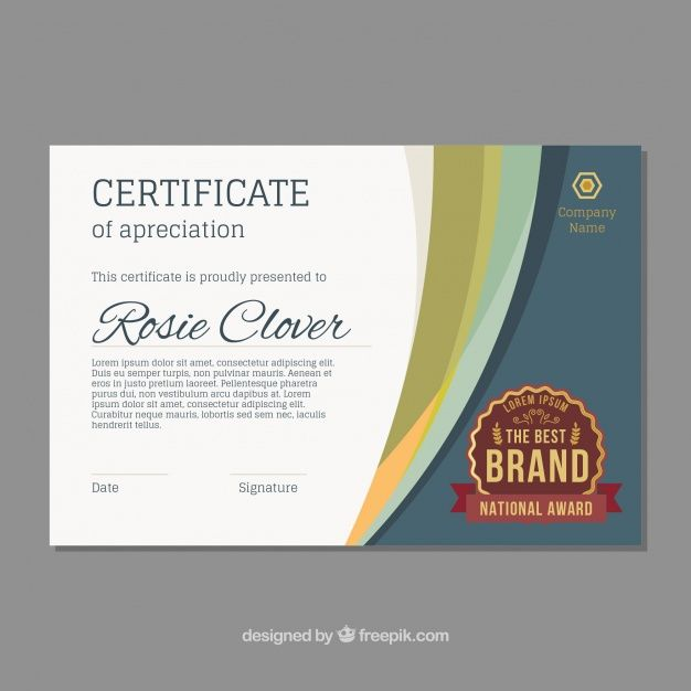 Certificate template with wavy forms Free Vector Volunteer - corporate certificate template