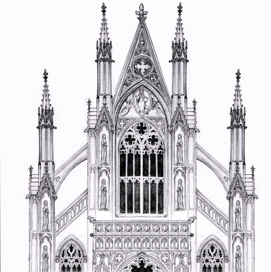 Gothic Facade Black And White Lineart By Dashinvainedeviantart On DeviantArt