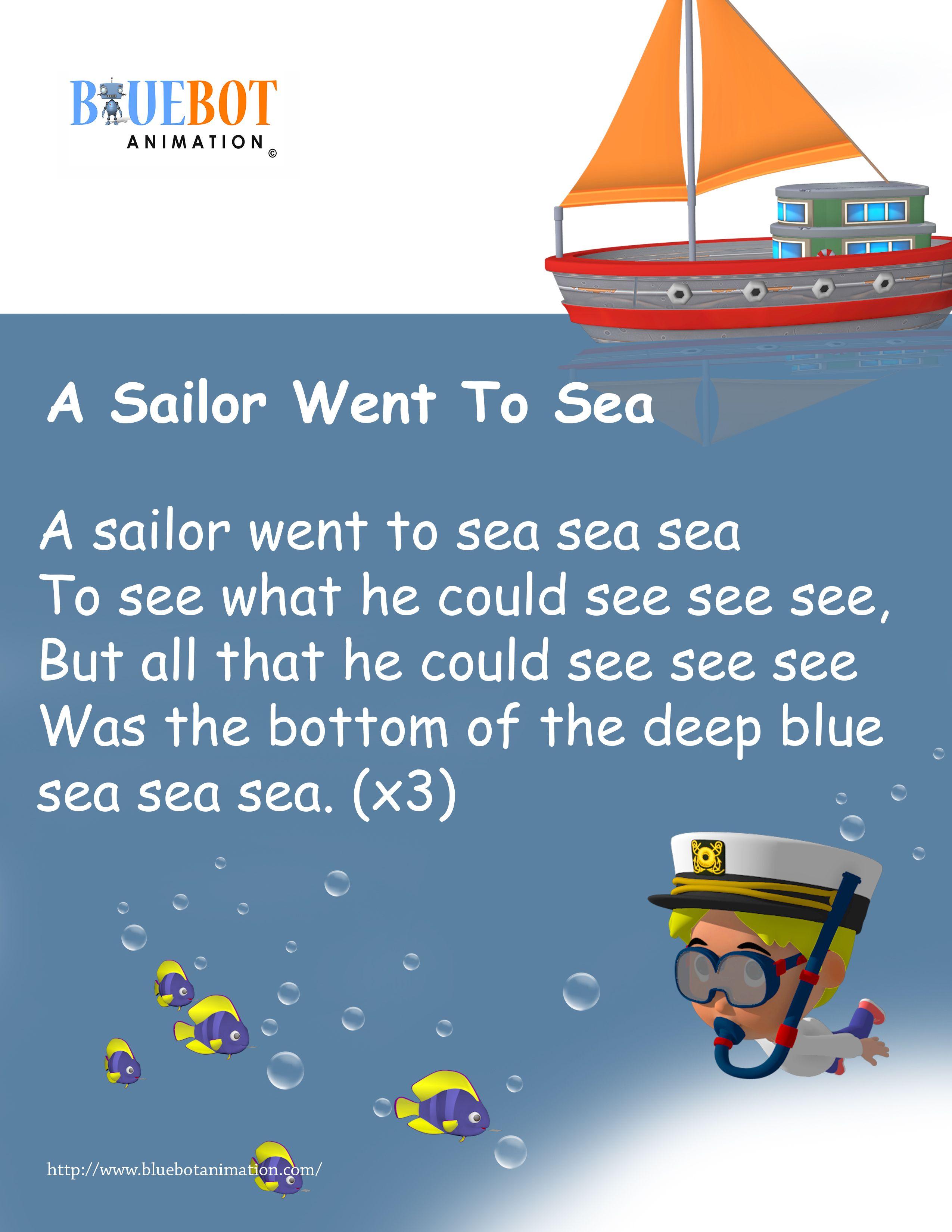 A Sailor Went To Sea Nursery Rhyme Lyrics Free Printable
