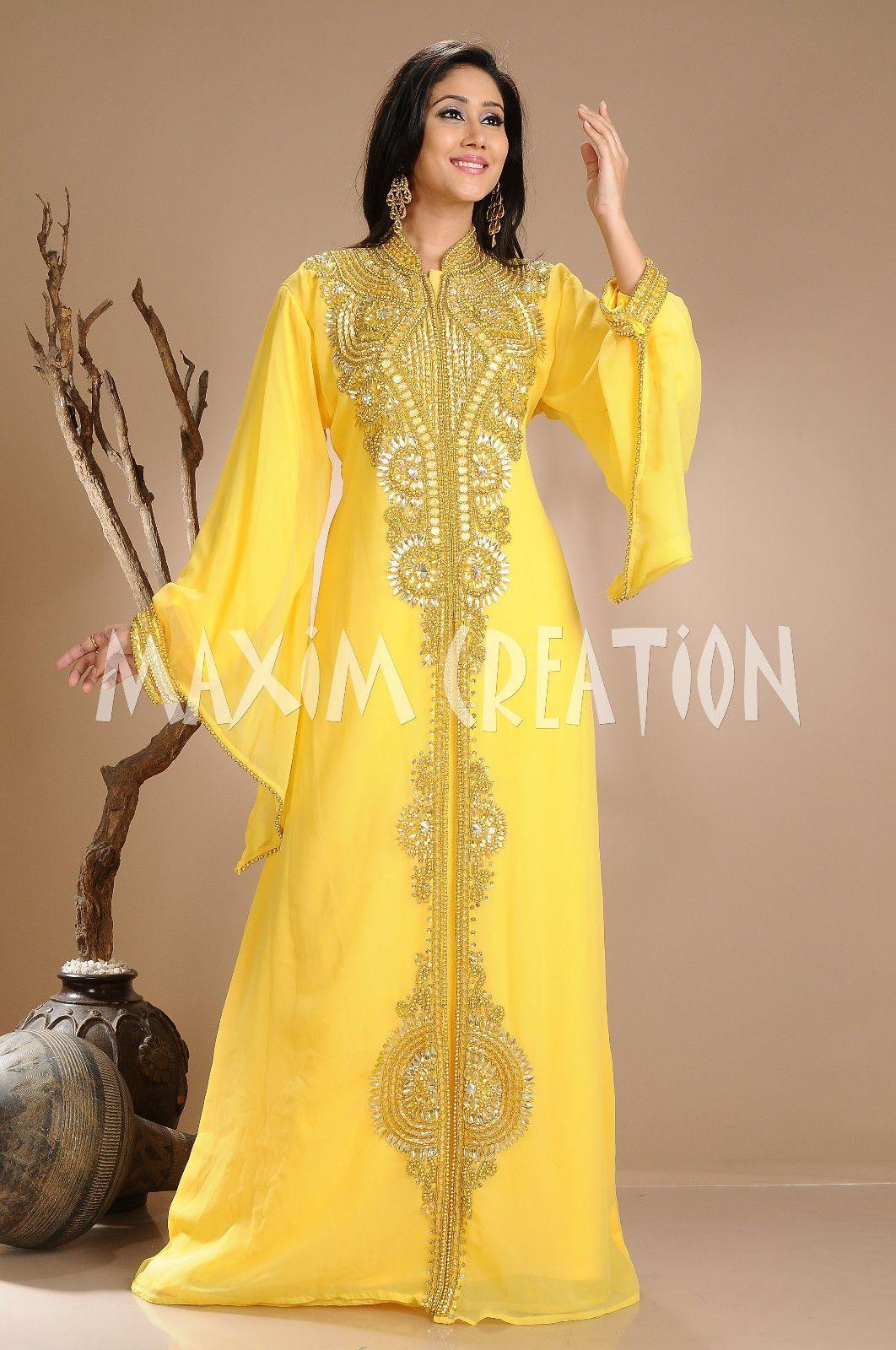Yellow georgette kaftan jilbab jalabiya wedding gown fancy caftan