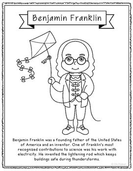 Benjamin Franklin Inventor Coloring Page Craft Or Poster Stem