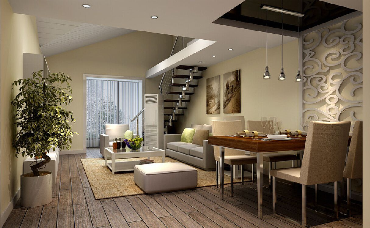 3d dining living room of duplex house ceiling for Duplex house designs interior