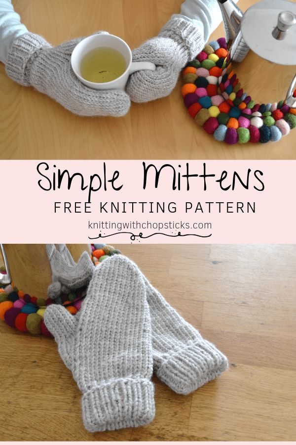Simple Mittens Knitting Pattern (With images)   Knitted ...
