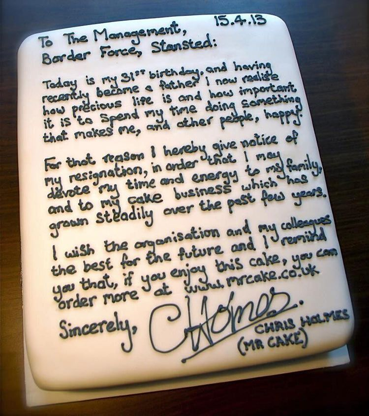 Guy resigns from job with a message written in cake frosting - what to avoid writing resignation letter