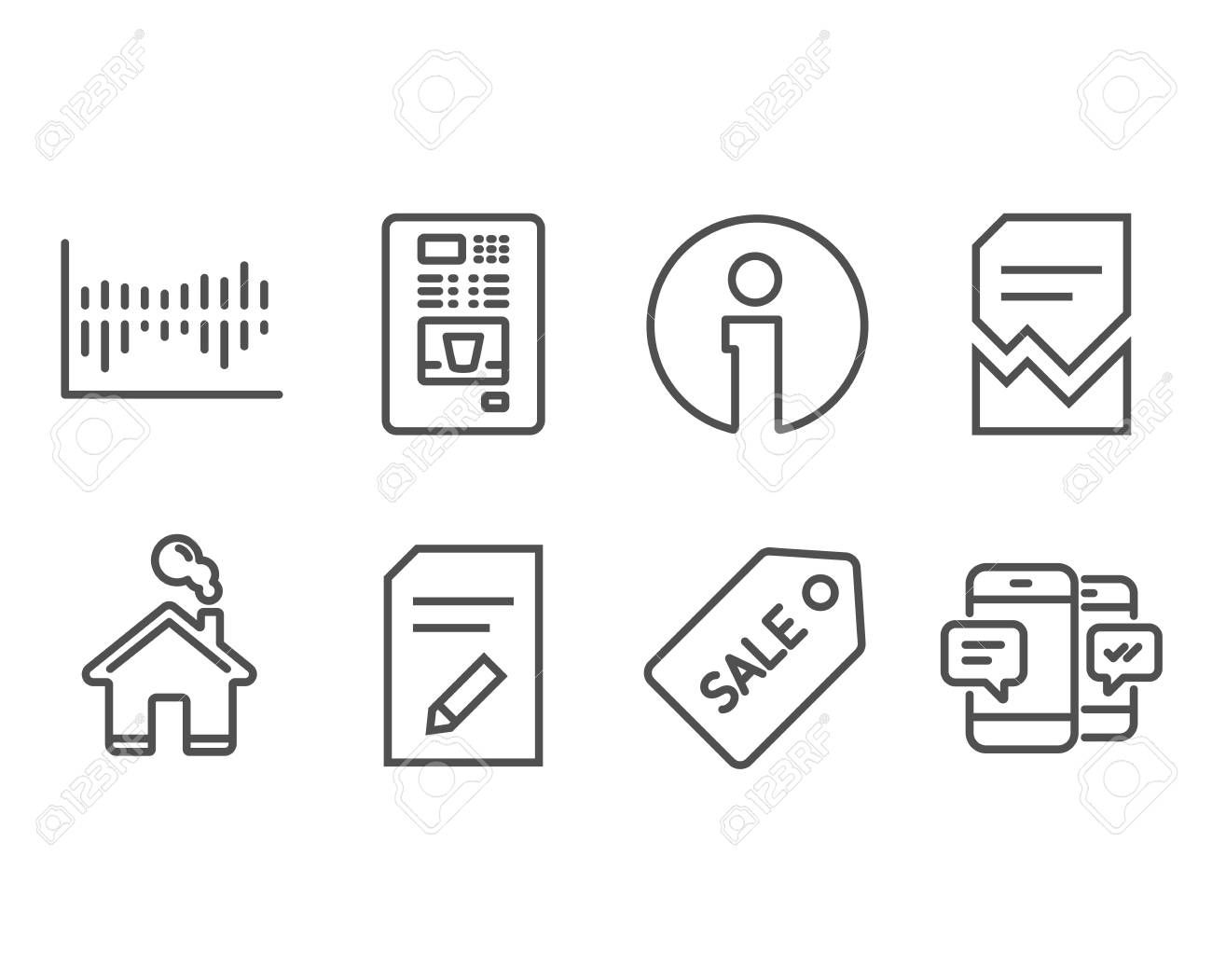 Set of Sale ticket Edit document and Coffee vending icons Corrupted file Column diagram and Smartphone sms signs Discount coupon Page with pencil Coffee vending machine V...