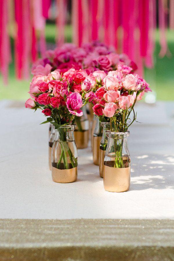 DIY Gold Painted Vases Blumen rosen, Pfingstrose und Rose - Deko Gartenparty Grun