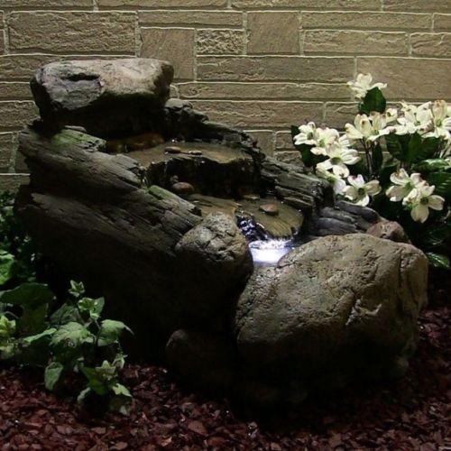 Water Fountain Rock U0026 Tree Trunk Outdoor Garden Electric Pump W/ LED Light  New