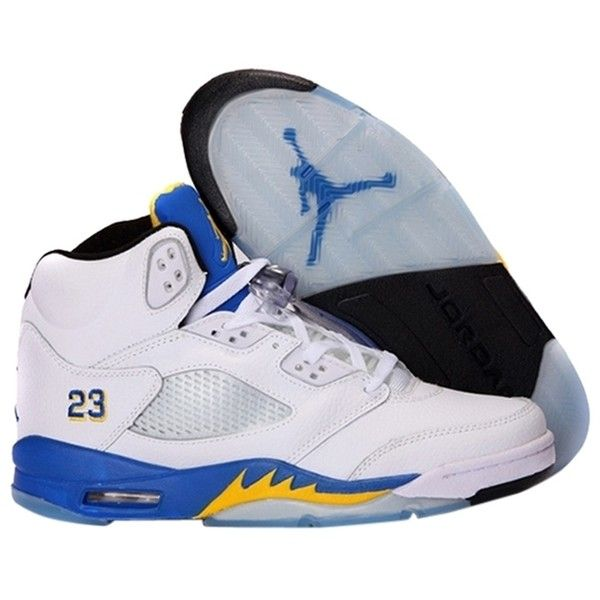 the best attitude b23ea 9335b Pre-owned Nike Air Jordan 5 Retro Laney Varsity Blue  Yellow  White ...  ( 141) ❤ liked on Polyvore featuring shoes, pre owned shoes, black shoes,  ...