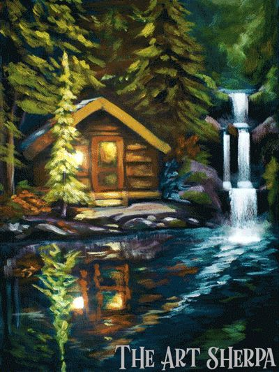 Model Of CabinLogo400 How to paint a Cabin by a Lake waterfall and reflection in Acrylic Paint Top Search - Elegant lake painting Elegant