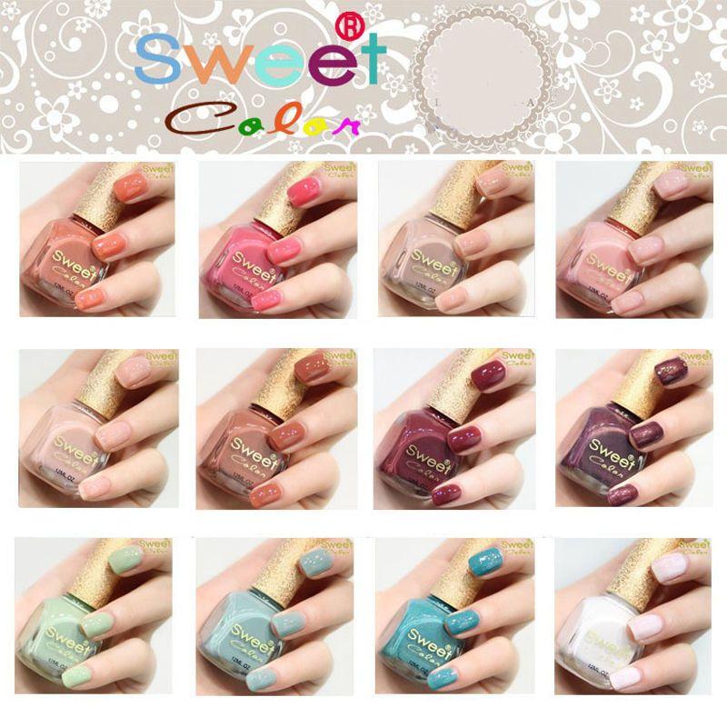 Sweet Color 12ml Women Beauty Nail Polish 12 Colors Gitter Nail Art ...
