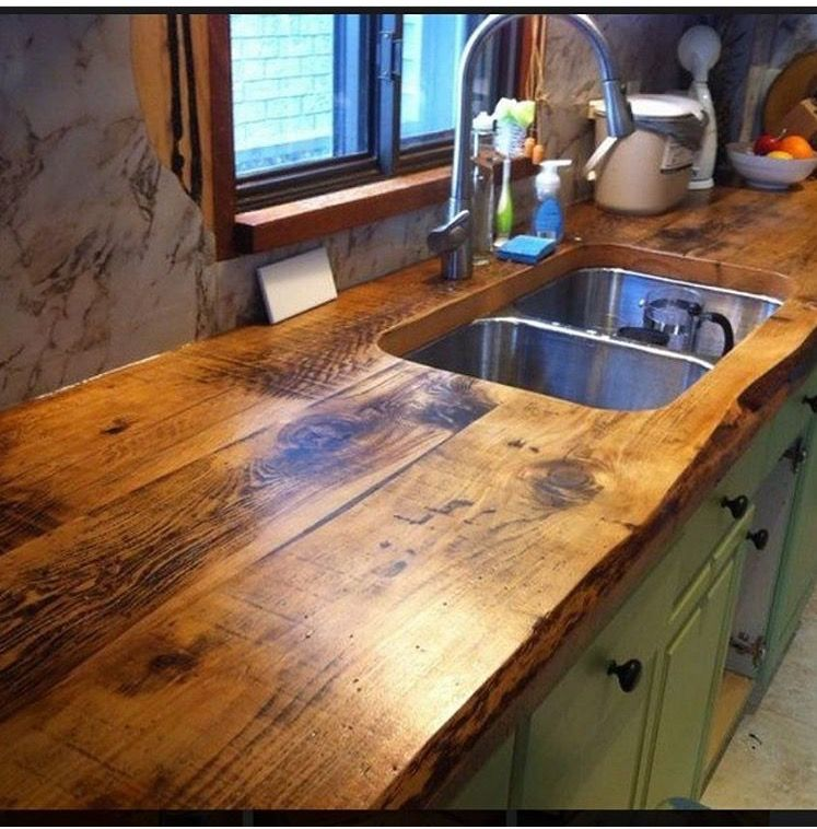 Counters Wooden Countertops Kitchen Kitchens Live Edge Rustic Kitchen