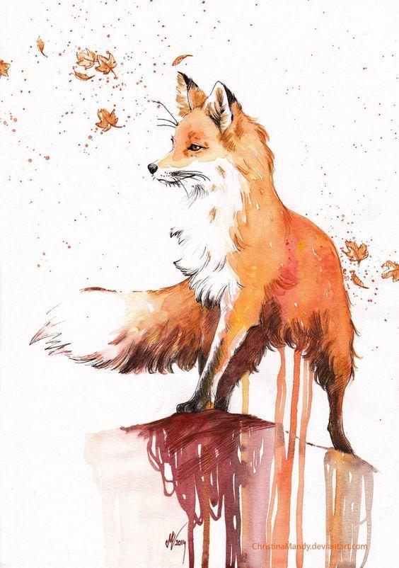 Peinture d 39 un renard tableau dessin renard dessin et - Dessin renard ...