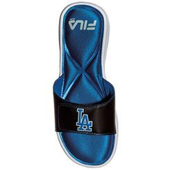 L.A. Dodgers Fila Women's Hudson Slides - Black/Royal