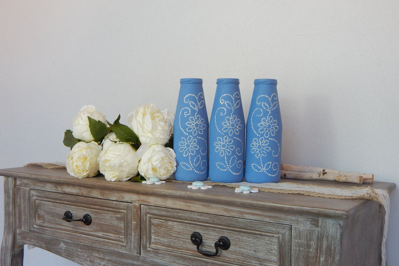 "Vasi dipinti ""Azzurro Cielo"" Set 3 barattoli - Centrotavola - Matrimonio - Cerimonie - Painted vases ""Blue Heaven"" nr. 3 jars - Centerpieces di LUCIDELNORD su Etsy"