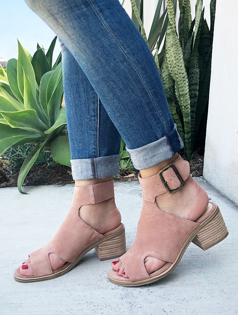 78985c2474dd09 Blush suede block heel sandal with open toe
