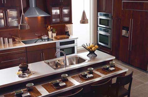 Typical of an asian style kitchen design this clean and for Zen style kitchen designs